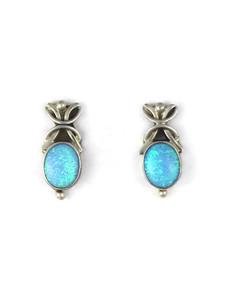 Silver Blue Opal Post Earrings (ER5389)