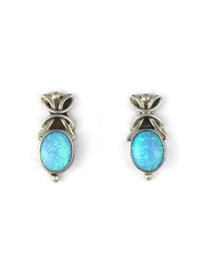 Silver Blue Opal Post Earrings (ER5389)