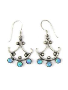 Silver Blue Opal Dangle Earrings (ER5393)
