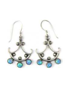 Silver Blue Opal Dangle Earrings (ER5393)