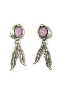 Silver Pink Opal Feather Earrings (ER5395)