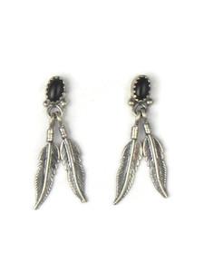 Onyx Silver Feather Earrings (ER5398)