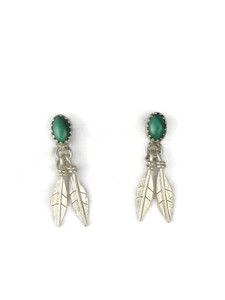 Malachite Silver Feather Earrings (ER5399)