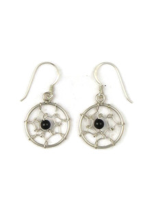 Silver Onyx Dream Catcher Earrings (ER5400)
