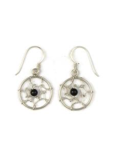 Silver Onyx Dream Catcher Earrings (ER5400)