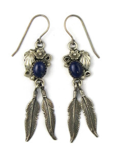 Silver Lapis Feather Earrings (ER5407)