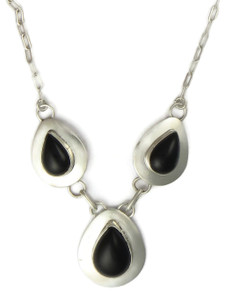 Silver Black Onyx Necklace (NK4691)