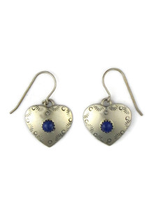 Silver Lapis Heart Earrings (ER5412)