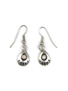 Small Silver Opal Bear Paw Earrings (ER5413)