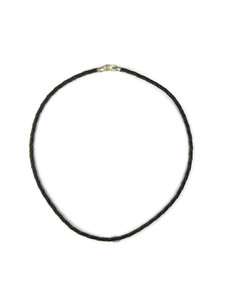 "Black Leather 4mm Braided Cord Necklace 20"" (LNK1-20)"