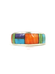 Multi Gemstone Inlay Band Ring Size 8 (RG2032)