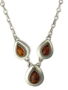 Sterling Silver Amber Necklace by Ella Peters (NK4692)