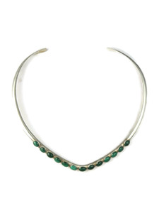 Malachite Silver Collar Necklace (NK4693)