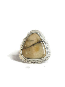 Fossilized Mammoth Tooth Ivory Ring Size 9 by Lucy Jake (RG4531)
