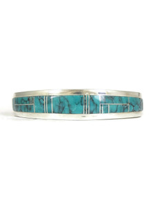 Small Spider Web Turquoise Inlay Bracelet by Thomas Francisco (BR6255)