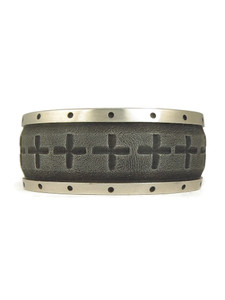 Large Silver Cross Cuff Bracelet by Dakota Willie (BR6257)
