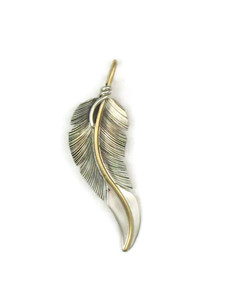 12k Gold & Sterling Silver Feather Pendant by Lena Platero (PD4224)