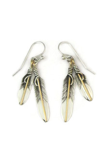 12k Gold & Sterling Silver Double Feather Earrings (ER5419)