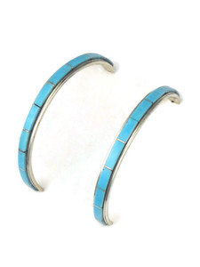Turquoise Inlay Hoop Earrings by Antonio Duran (ER5421)