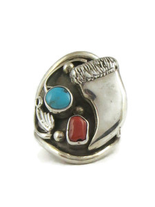 Turquoise & Coral Silver Bear Claw Ring Size 13 (RG4534)