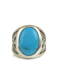 Vintage Turquoise Silver Thunderbird Ring Size 10 (RG4535)