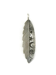 Silver Petroglyph Overlay Feather Pendant by Janet Denetdale (PD4228)