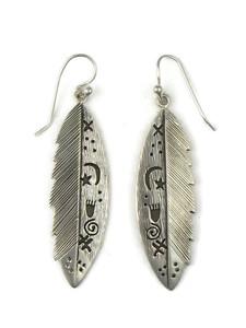 Silver Overlay Petroglyph Feather Earrings by Jane Denetdale (ER5424)