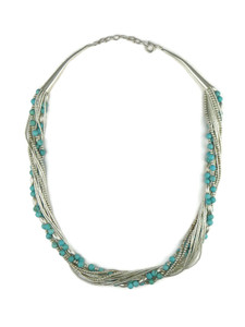 Liquid Silver Turquoise Bead Necklace (LSNKTQ200)