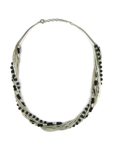 Liquid Silver Onyx Bead Necklace (LSNKOX200)