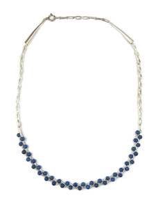 Liquid Silver Lapis Bead Necklace (LSNKLP100)