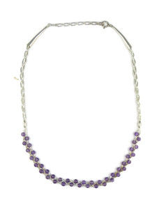 Liquid Silver Amethyst Bead Necklace (LSNKAM100)