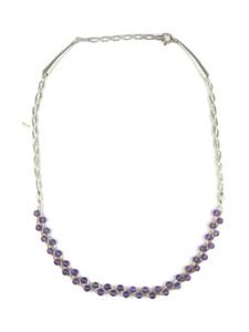 Liquid Silver Amethyst Bead Necklace (LSNKAM100)