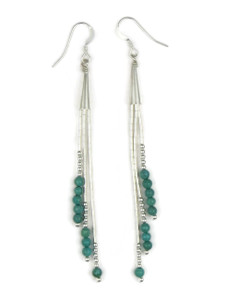 Liquid Silver Turquoise Bead Dangle Earrings (LSERTQ150)