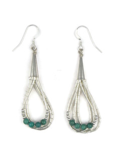 Liquid Silver Turquoise Bead Loop Earrings (LSERTQ125)