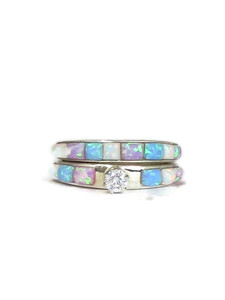 Tri Color Opal Inlay Wedding Band Ring Set with CZ (ER4548)