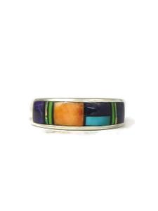 Multi Gemstone Inlay Ring Size 9 (RG4549)