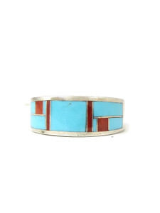 Turquoise & Coral Inlay Ring Size 7 1/2 (RG4557)