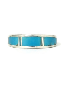 Turquoise Inlay Band Ring Size 9 (RG4560-S9)