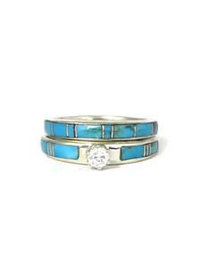 Turquoise Inlay Wedding Band Set with CZ Size 6 (RG4565)