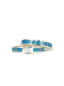 Turquoise Inlay Wedding Ring Set with CZ Size 8 (RG4566)