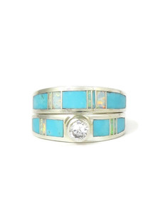 Turquoise & Opal Inlay Wedding Ring Set with CZ (RG4568)