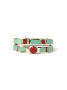 Turquoise & Coral Inlay Wedding Ring Set Size 6 (RG4569-S6)