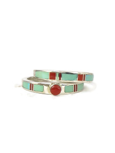 Turquoise & Coral Inlay Wedding Ring Set Size 7 (RG4569-S7)