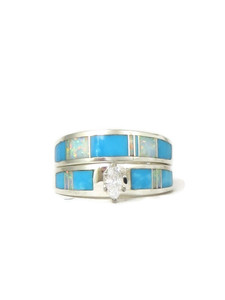 Turquoise & Opal Inlay Wedding Ring Set with Marquis CZ Size 6 1/2 (RG0301-S6.5)
