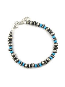 Turquoise Silver Bead Bracelet (BR6260)