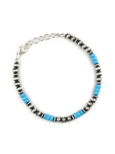 Turquoise Silver Bead Bracelet (BR6261)