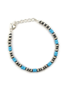 Turquoise Silver Bead Bracelet (BR6262)