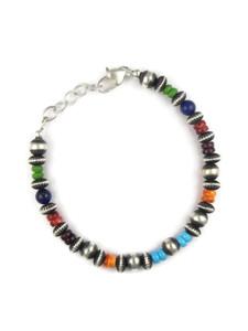 Multi Gemstone Silver Bead Bracelet (BR6263)
