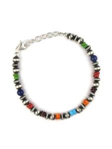 Multi Gemstone Silver Bead Bracelet (BR6264)