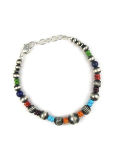 Multi Gemstone Silver Bead Bracelet (BR6265)